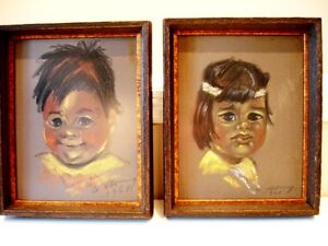 1968 Original OIL PASTEL PAINTINGS Native Indian Children signed
