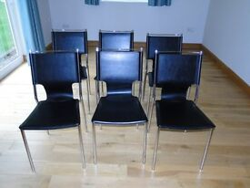 Six Bouclav stunning looking black Faux leather and metal dining room chairs in excellent condition