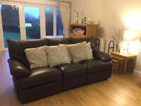 3 Seater and 2 Seater Brown Leather Sofas (Recliners)
