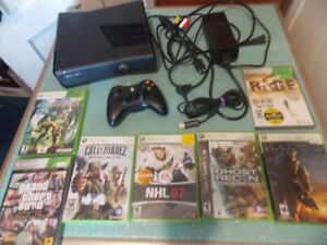 Xbox 360 Slim System   - Complete with 7 games
