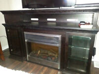 TV Media console with electric fireplace
