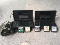 2 x Nintendo DS consoles with charger and 5 games