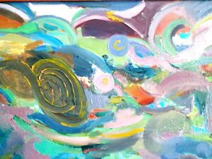 """Contemporary ORIGINAL OIL PAINTING ABSTRACT Polish 49""""L Krwawicz Kitchener / Waterloo Kitchener Area image 4"""