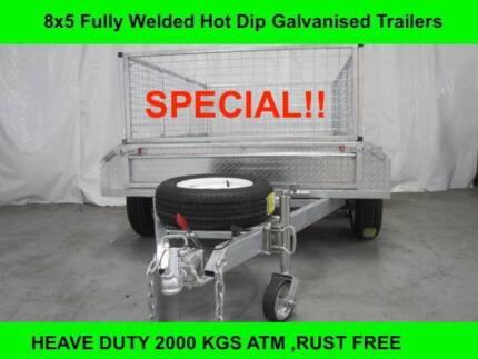 8X5 FULLY WELDED HOT DIP GALVANISED TRAILERS 2000 KG GVM on sale