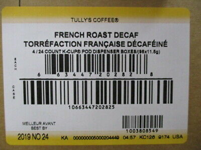 Tully's Coffee French Roast Decaf Extra Bold Dark Roast Keurig K-Cup 96 Count