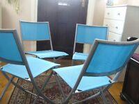 4 blue waterproof fabric grey metal folding garden patio dining chairs - southboorne