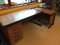 TWO OFFICE DESKS, PEDESTAL AND CHAIR: £45
