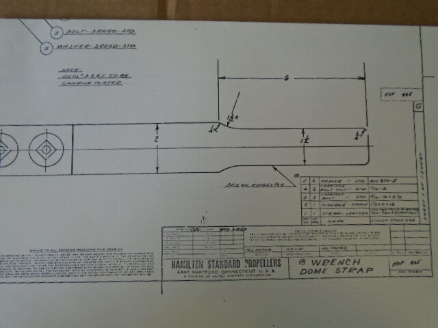 1 EA HAMILTON STANDARD PROPELLERS DOME STRAP WRENCH DRAWING #HSP-465