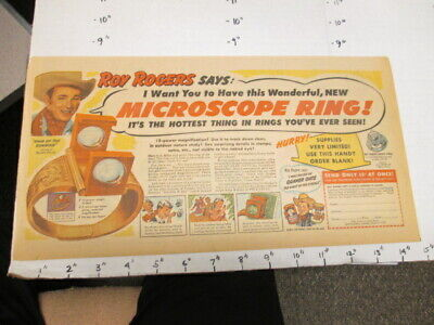 newspaper ad 1949 QUAKER cereal box Roy Rogers cowboy premium microscope ring