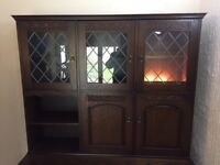 Dining table, 6 matching chairs and display cabinet for sale