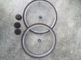 """PAIR OF 26"""" WHEELS WITH TYRES AND CHOICE OF 5 SPEED, 6 SPEED OR 7 SPEED COGS."""