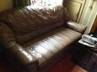 Three piece leather sofa settee and two chairs - Mushroom colour