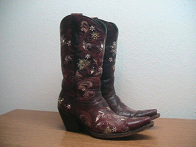 Burgundy Cowboy Boots (Womens 8.5 B Lucchese Burgundy Embroided Leather Western Cowboy)