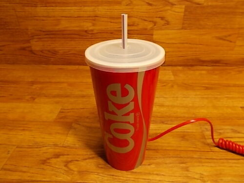 Coca Cola Cup Shaped Phone - Coke Soda Pop Telephone - Never Used