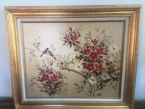 BIN: CHINESE PAINTING 2 BIRDS PERCHED ON FLOWERING BRANCHES:SIGNED & MARKED