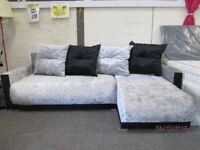 *BRAND NEW**+SILVER/BLACK CRUSHED VELVET CORNER SOFA*Free Delivery*/BED CONVERSION+STORAGE+4 BIG CUS