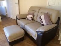2 seater leather sofa with matching footstool