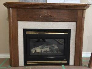 Gas Fireplace with Oak Mantle