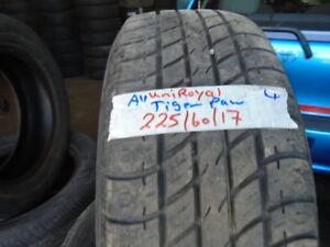 FOUR USED ALL SEASON TIRES 225-60-17 { UNIROYAL } R.H AUTO