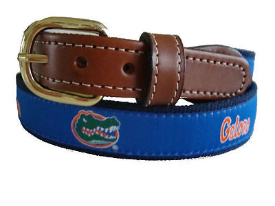 University of Florida Gators Mens Leather Canvas Embroidered Belt pick your size Florida Gators Embroidered Leather