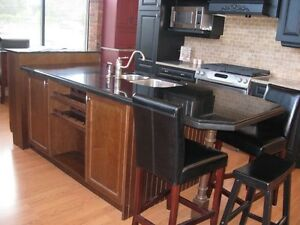 Deluxe kitchen cabinets and granite counters