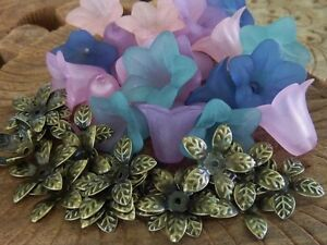 40 Mixed Lucite Flower Beads & Antique Bronze Bead Caps