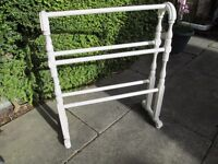 TRUE VINTAGE EARLY 20TH CENTURY FREE STANDING PAINTED WOOD TOWEL RAIL-COLLECT OSSETT-WAKEFIELD.