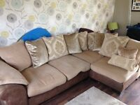 DFS Corner Sofa and Footstool, Fabric. Scatter-back cushions