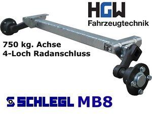 750 kg. Achse für Anhänger - AM: 1000 mm - AS: 4*100 - ungebremste Anhängerachse