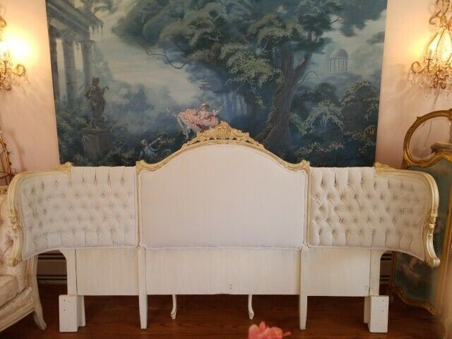 Painted Cottage Shabby French Romantic Curvy Sides Upholstered King Headboard