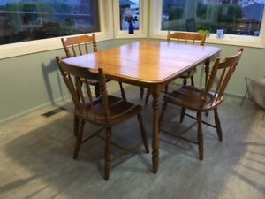 Maple table and 5 chairs