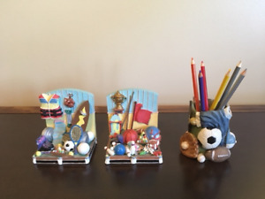 Ceramic Sports-Themed Children's Bookends - LIKE NEW!