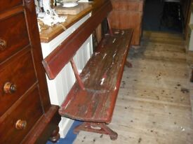 RUSTIC BENCH WITH SWINGING BACK REST