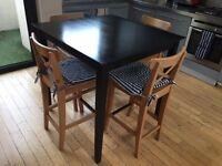 Ikea BJURSTA Bar Dining Table and 4x INGOLF Bar Stools / Chairs
