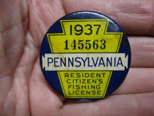 Vintage 1937 PennsylvaniaFishing License / Numbered Pinback Badge (3)