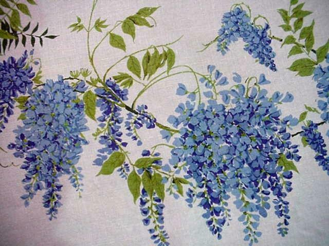 Vintage WISTERIA Floral Cottage ROUND Printed Tablecloth Blue White FLOWERS Fab!