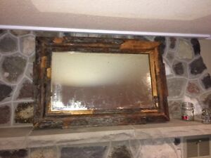 "LARGE Antique ""Rustic-Look"" Heavy, Solid Wood Mirror!"