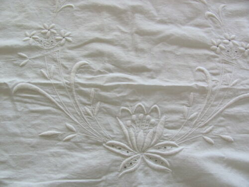 Antique pair white on white embroidered water lily pillow shams scalloped edges