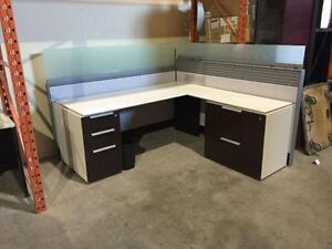 Used L-Shape Workstation with glass over panels