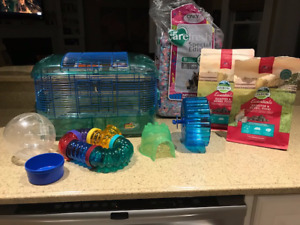 Hamster Cage, Accessories, Food, Litter and Hamster Ball