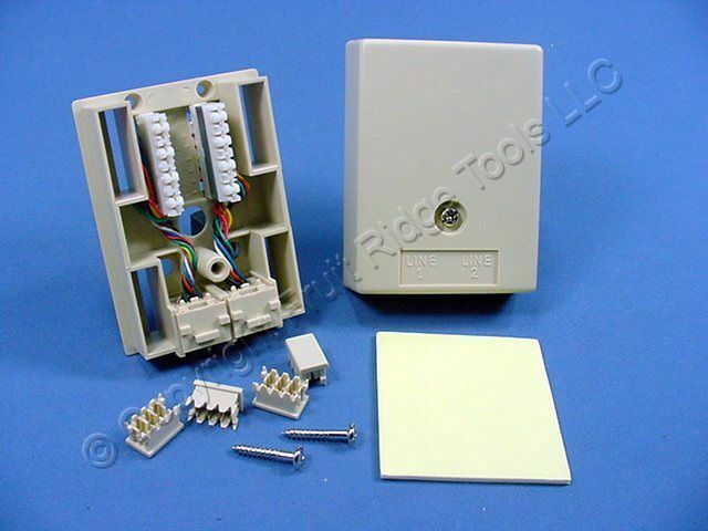 Leviton Ivory DUPLEX Surface Mount Modular Phone Jack 8-Wire 41048-IDA Bagged