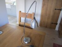 Desk lamp silver hanging weighted base possibly ikea bulb