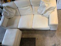 Furniture village Cream Leather sofa