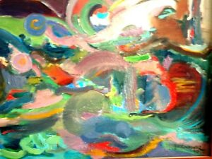 """Contemporary ORIGINAL OIL PAINTING ABSTRACT Polish 49""""L Krwawicz Kitchener / Waterloo Kitchener Area image 5"""