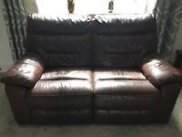 3 piece suite,brown leather recliners
