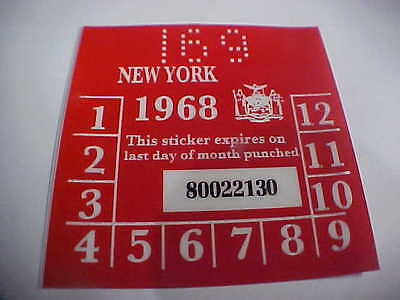 new york 1968 registration inspection sticker windshild