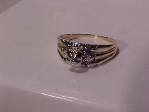 #881-ANTIQUE STYLE 14 K Y/W/Gold engagement ring-SIZE 9 3/4-LOOKS LIKE 3 RINGS TOGETHER..