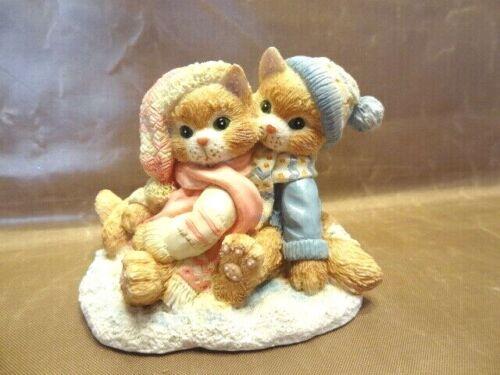 """Calico Kittens - """"Tis The Season for Sharing"""" 1993 - Winter Boy & Girl Hugging"""
