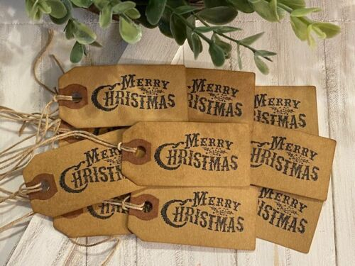 25 Small Black MERRY CHRISTMAS Primitive Coffee Stained Price Hang Tags gift lot