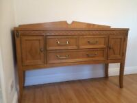 Extending dining table with six chair and matching side cabinet - good condition